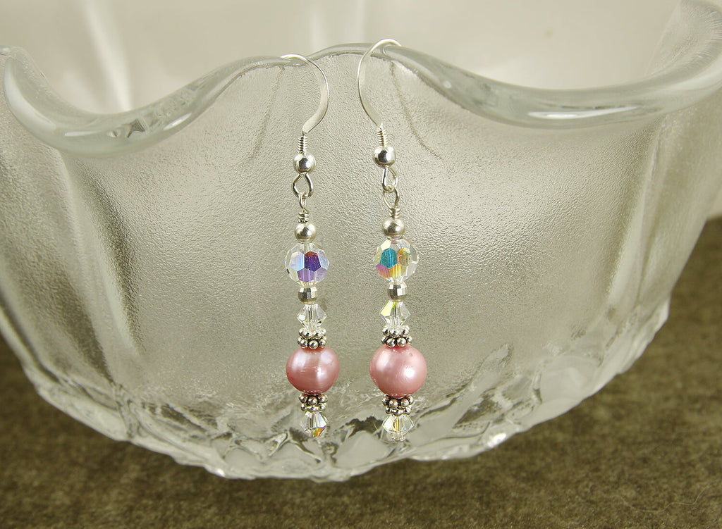 Elegant Pink Pearl Crystal Beaded Earrings