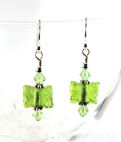 Charming Peridot Crystal Butterfly Earrings - SWCreations