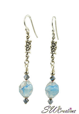 Opal Starshine Aqua Floral Beaded Earrings - SWCreations