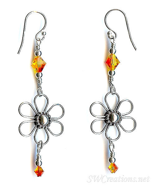 Enchanting Fire Opal Floral Crystal Earrings - SWCreations