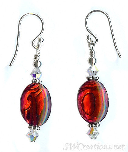 Crystal Ruby Abalone Shell Bead Earrings - SWCreations