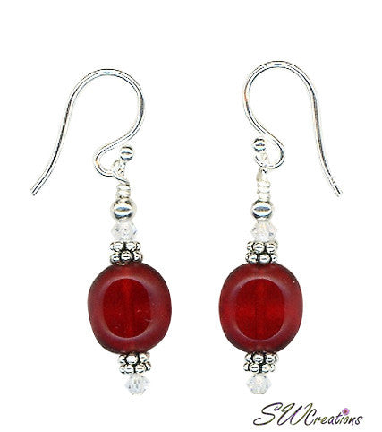 Red Crystal Window Beaded Earrings - SWCreations