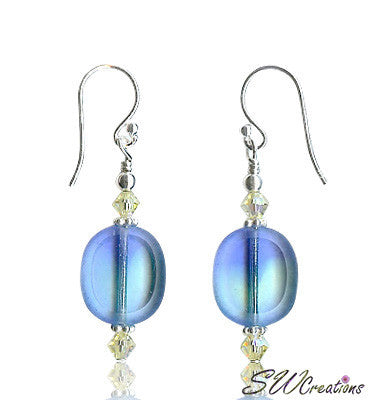 Crystal Blue Window Beaded Earrings - SWCreations