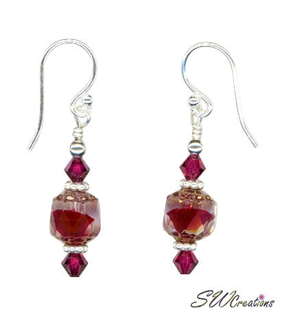 Satin Rubies Crystal Beaded Earrings - SWCreations