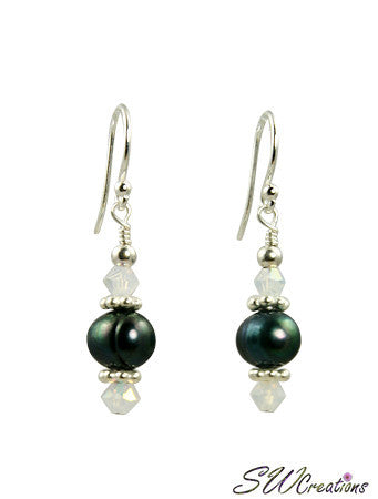 Opal Crystal Emerald Pearl Earrings - SWCreations