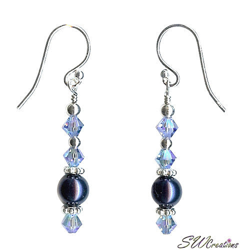 Ocean Mist Crystal Pearl Silver Earrings - SWCreations