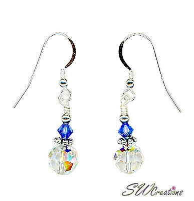 Glistening Sapphire Crystal Beaded Earrings - SWCreations