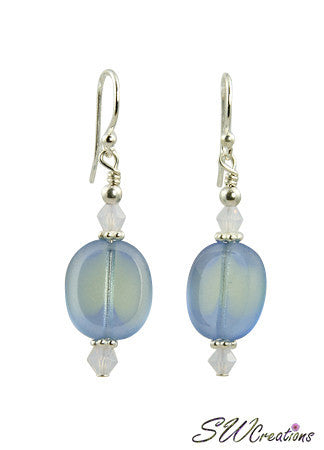 Violet Opal Blue Window Bali Earrings - SWCreations