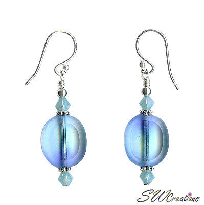 Pacific Opal Blue Window Beaded Earrings - SWCreations