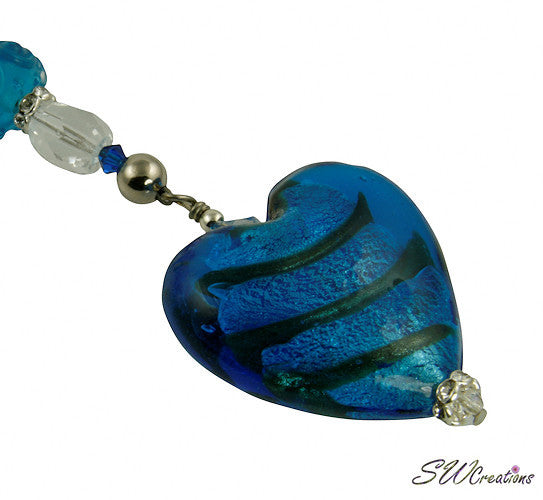 Mystic Aqua Blue Heart Beaded Fan Pull - SWCreations