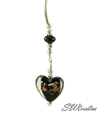 Jet Gold Heart Goldstone Beaded Fan Pull - SWCreations