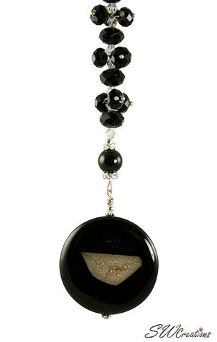 Black Gemstone Crystal Fan Pull - SWCreations