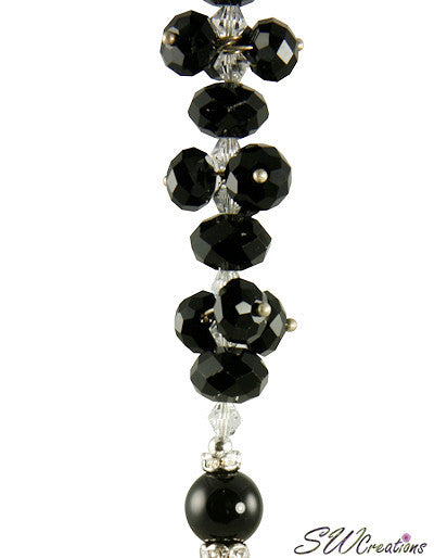 Black Gemstone Crystal Fan Pull - SWCreations  - 3