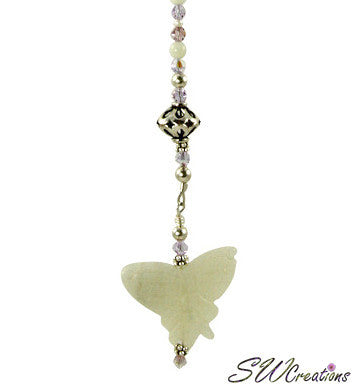 Jade Lilac Butterfly Crystal Creations Fan Pull - SWCreations