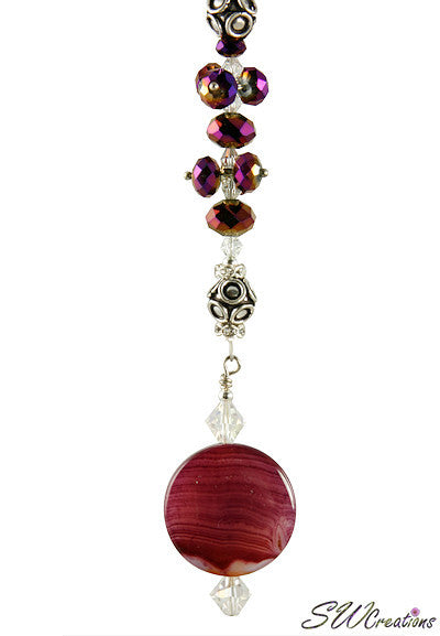 Purple Agate Gemstone Crystal Beaded Fan Pull - SWCreations  - 1