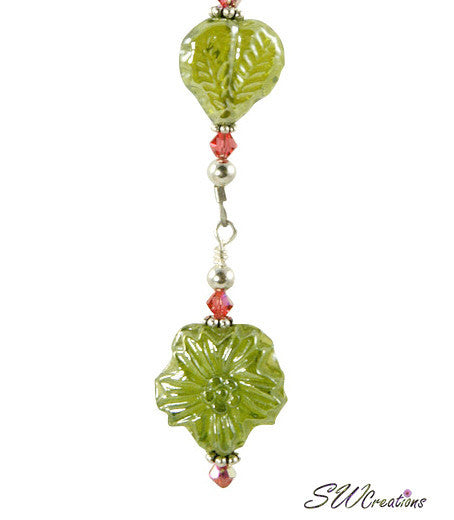 Coral Blue Olive Green Floral Beaded Fan Pull - SWCreations