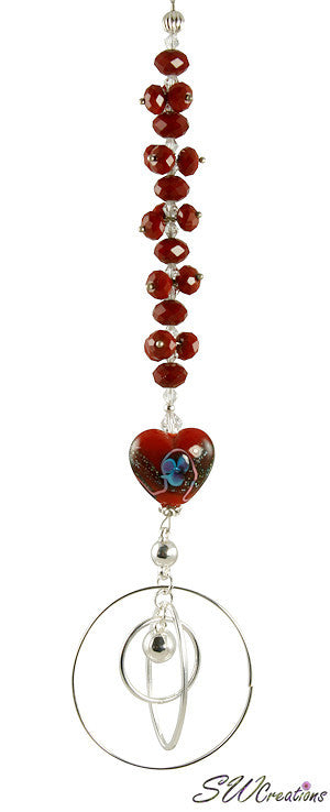 Ruby Heart Crystal Beaded Fan Pull - SWCreations  - 3