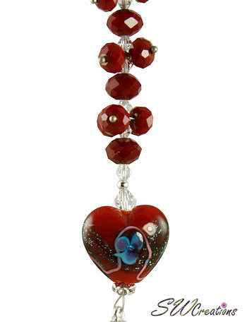 Ruby Heart Crystal Beaded Fan Pull - SWCreations  - 4