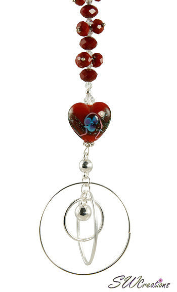 Ruby Heart Crystal Beaded Fan Pull - SWCreations  - 1