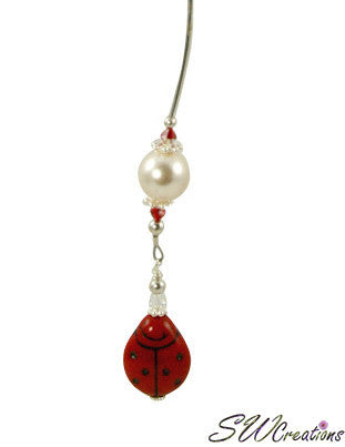 Red Ladybug Pearl Crystal Beaded Fan Pull - SWCreations