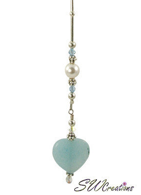 Aqua Heart Pearl Crystal Beaded Fan Pull - SWCreations  - 1
