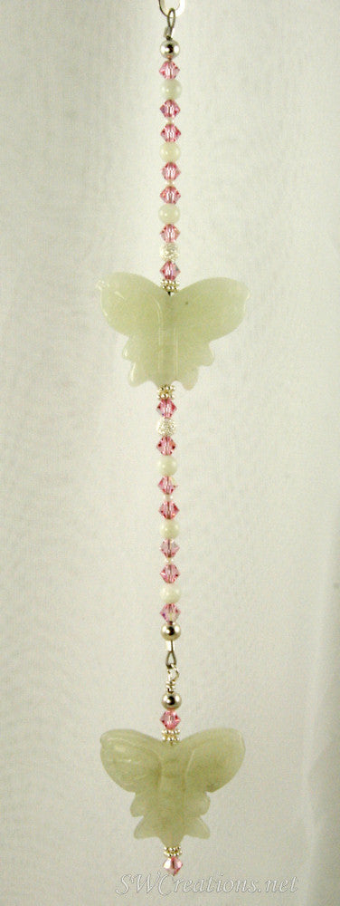 Rose Jade Butterfly Crystal Creations Fan Pull - SWCreations