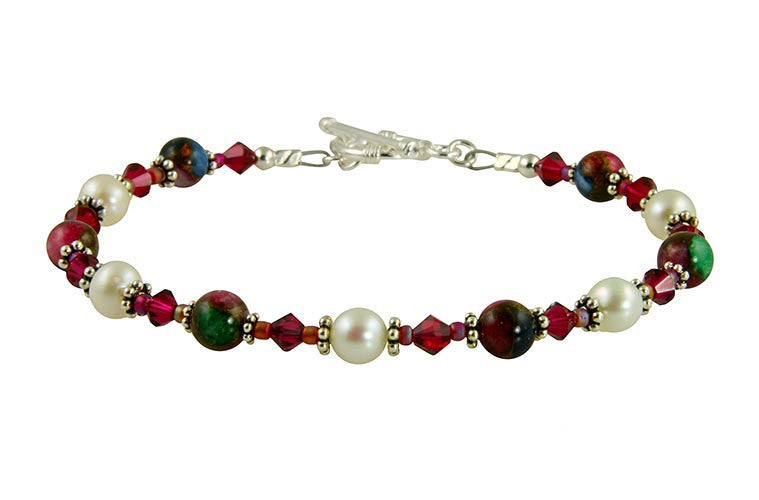 Ruby Quartz Pearl Handmade Bracelet - SWCreations
