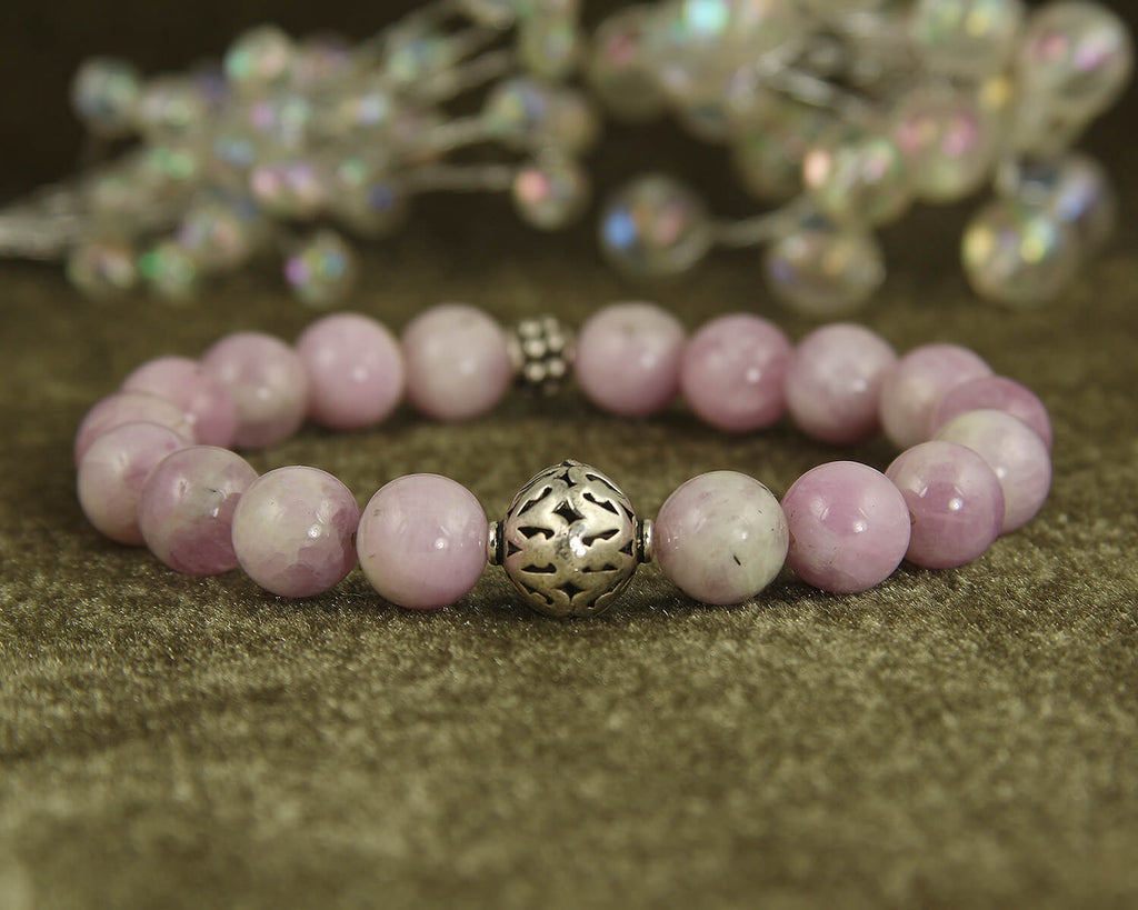 Kunzite Gemstone Silver Beaded Bracelet