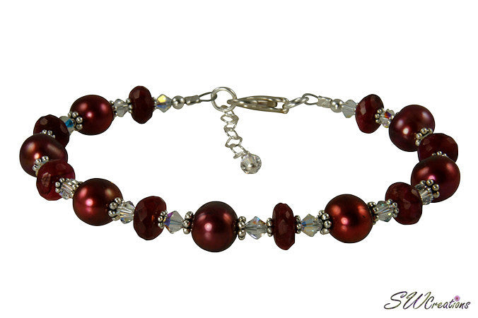 Ruby Moonstone Gemstone Pearl Bracelet - SWCreations