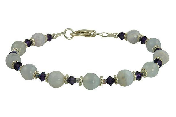 Blue Chalcedony Gemstone Beaded Bracelets - SWCreations  - 1