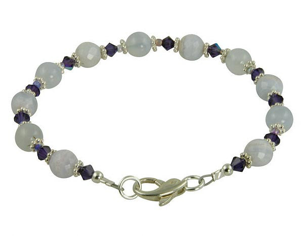 Blue Chalcedony Gemstone Beaded Bracelets - SWCreations  - 2