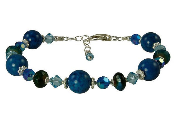 Aqua Blue Apatite Gemstone Beaded Bracelet - SWCreations