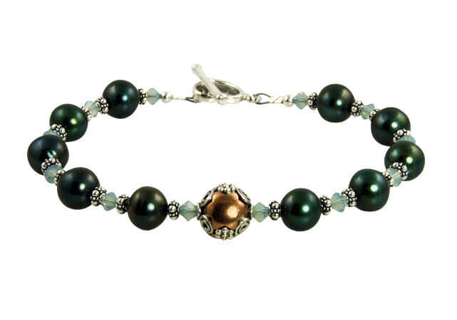 green pearl sterling bracelet