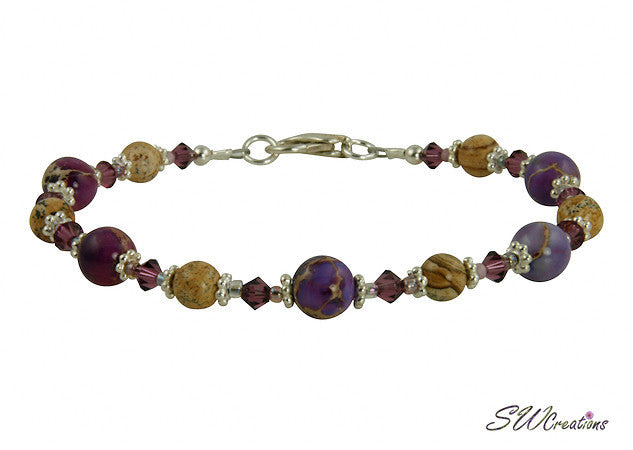 Purple Varascite Jasper Gemstone Beaded Bracelets - SWCreations