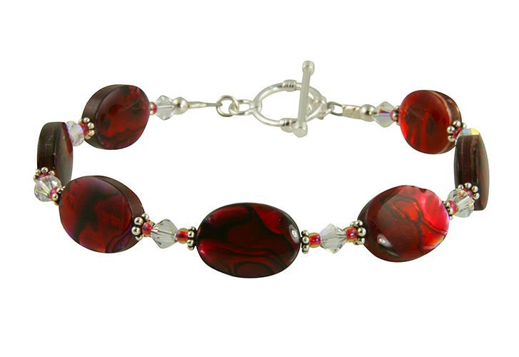 Ruby Mother of Pearl Handmade Bracelet - SWCreations