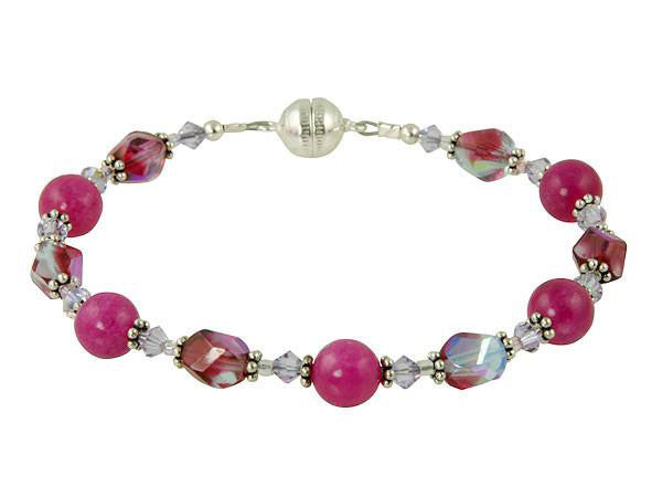 Pink Jade Gemstone Magnetic Beaded Bracelet