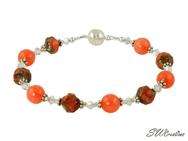 Tangerine Jade Gemstone Magnetic Beaded Bracelet - SWCreations
