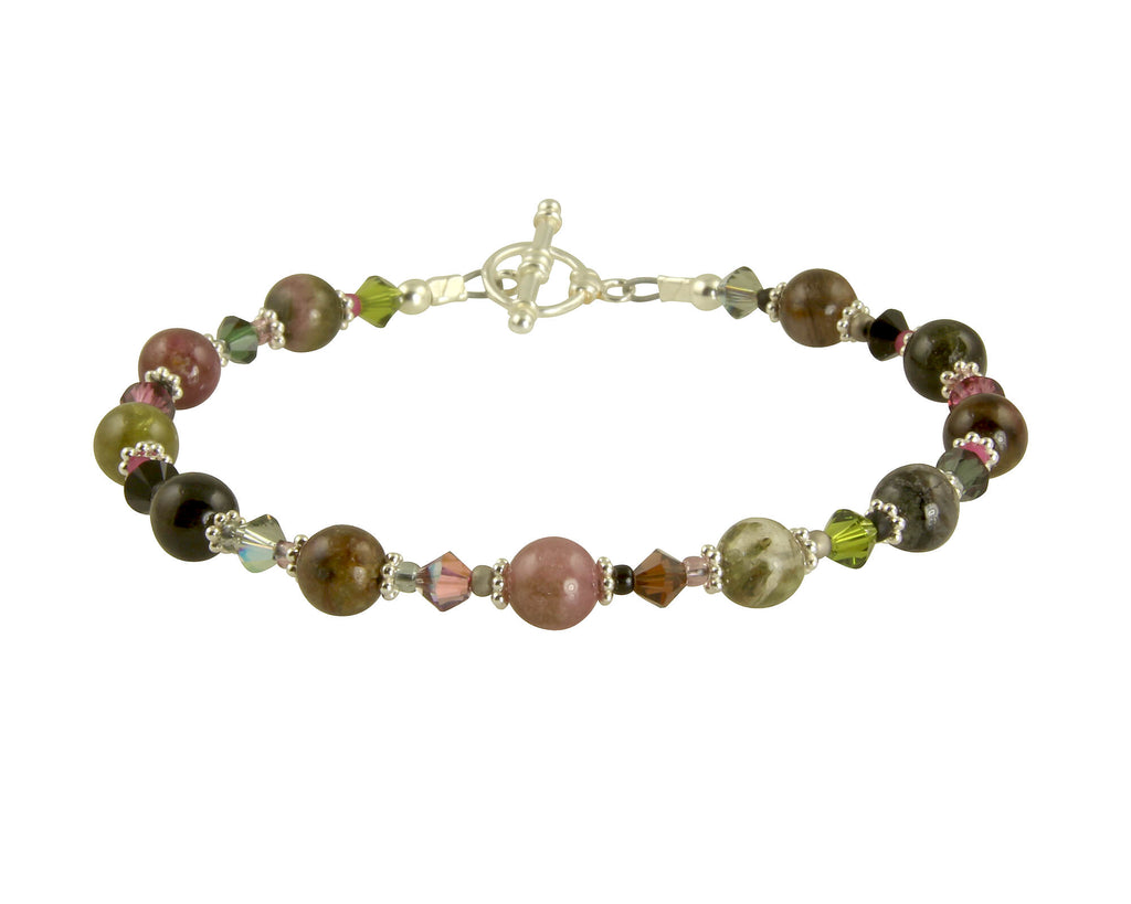 Tourmaline Crystal Gemstone Bracelet, Sterling Silver