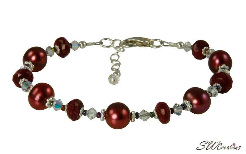 Ruby Moonstone Pearl Gemstone Bracelet - SWCreations  - 1