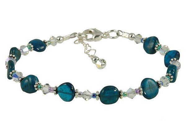 Aqua Apatite Gemstone Beaded Bracelet - SWCreations