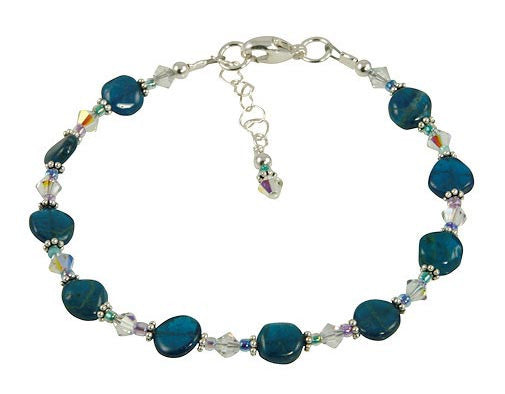 Aqua Apatite Gemstone Beaded Bracelet - SWCreations  - 2