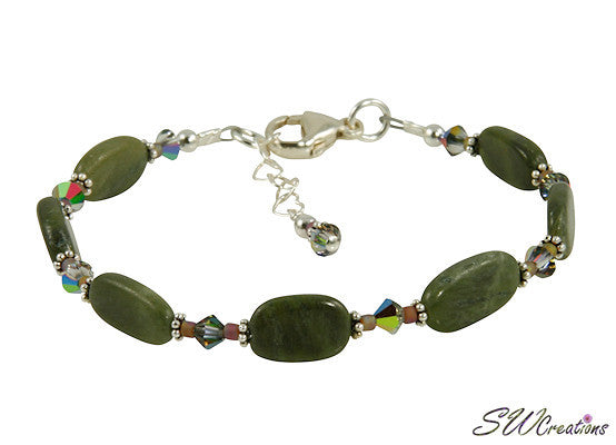 Olive Jade Crystal Gemstone Beaded Bracelet - SWCreations  - 1