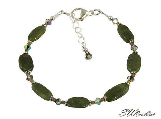 Olive Jade Crystal Gemstone Beaded Bracelet - SWCreations  - 2