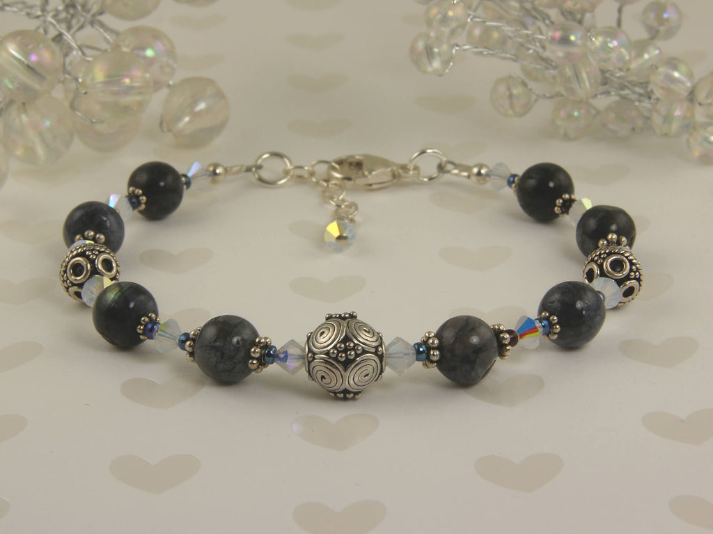 Blue Labradorite Gemstone Beaded Bracelet