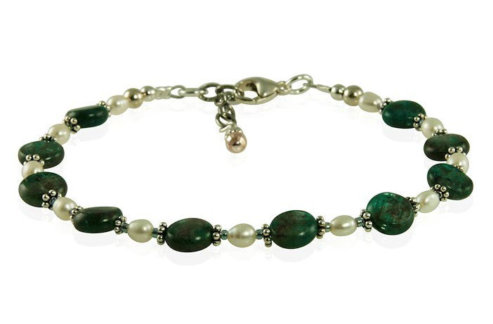 Teal Green Labradorite Gemstone Bracelet - SWCreations  - 1