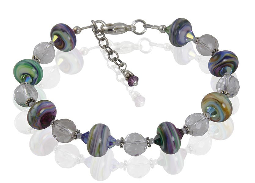 Art Chaos Crystal Lampwork Bracelet - SWCreations