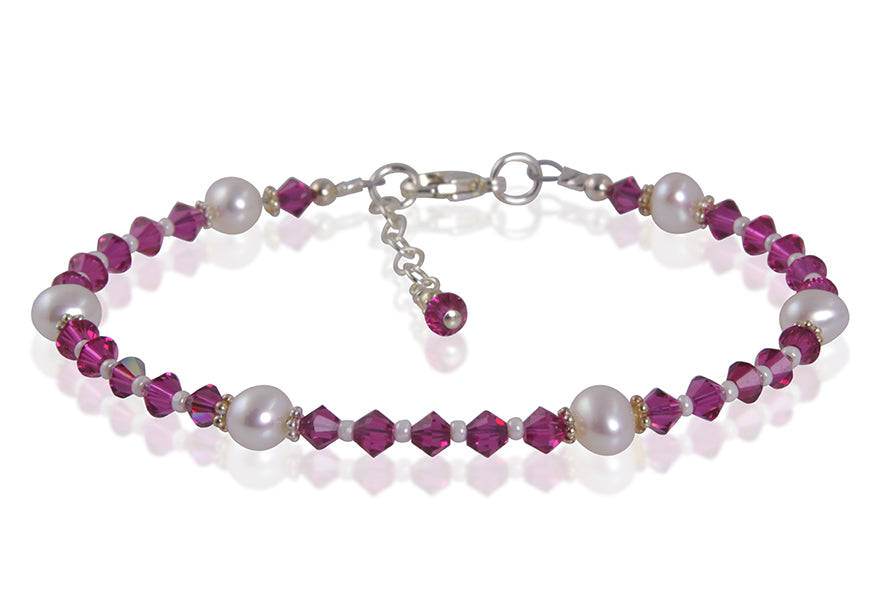 Fuchsia Pink Crystal Pearl Bracelet - SWCreations