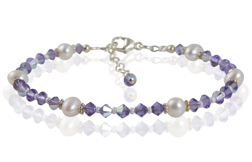Tanzanite Purple Crystal Pearl Bracelet - SWCreations