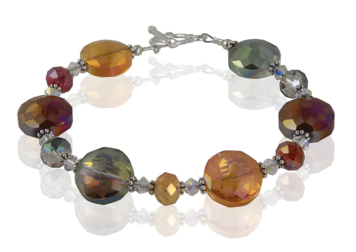 Autumn Crystal Glass Beaded Bracelet - SWCreations