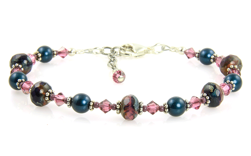Amethyst Mauve Pearl Crystal Bracelet - SWCreations